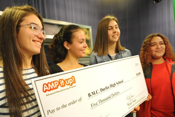 Award-winning video journalists, from left, Meera Sabeh, Jessica Miranda, Madison Barboza, and Jeannette Colon talik about their work from last year, when they were juniors at Durfee. Now seniors, their winning videos netted five thousand dollars for the FRED TV program from Amp it up! . Herald News Photo | Jack Foley
